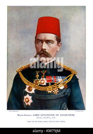 Kitchener, 1900 colour portrait photograph of the English soldier as Major-General Lord Kitchener of Khartoum when - Stock Photo