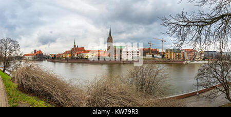 Panoramic view of Cathedral Island (Ostrow Tumski) and Oder river in historical center of Wroclaw city, Poland. - Stock Photo