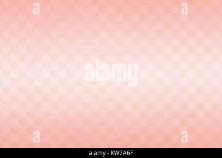 Japanese pink white checkered pattern paper texture or spring color background - Stock Photo
