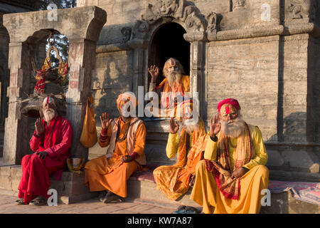 Sadhu holy men sitting for photos at Pashupatinath temple in Kathmandu. Having denounced the material world they - Stock Photo