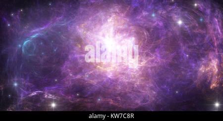 Abstract scientific background - planet in space, nebula and stars. - Stock Photo