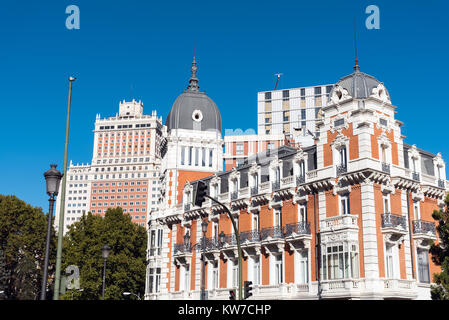 Typical buildings seen in Madrid, Spain - Stock Photo