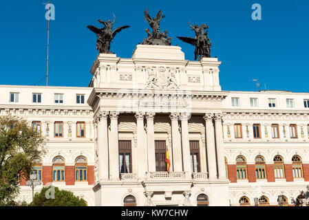 Ministry of Agriculture Building (Palacio de Fomento) in Madrid, Spain - Stock Photo