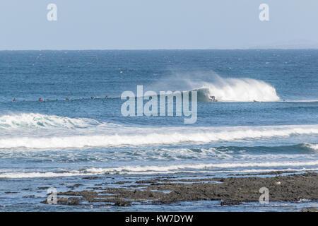Surfing on Fuertevantura, Canary Islands in december 2017 - Stock Photo