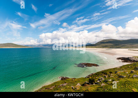 Luskentyre beach at Seilebost on South Harris in the Outer Hebrides. - Stock Photo