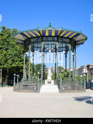 Art nouveau bandstand in the public gardens of Villa Comunale, Chiaia - Naples Italy - Stock Photo