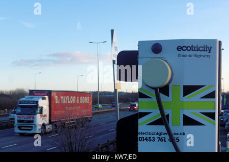 An Ecotricity charging point along the 'electric highway' on Britain's M1 motorway in England, UK - Stock Photo
