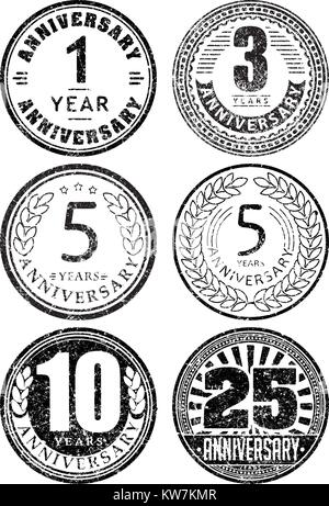 Set of six anniversary designs in rubber stamp style. There are 1, 3, 5, 10, 25 years icons. - Stock Photo