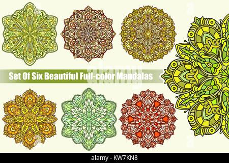 Set of six abstract vector colorful round lace designs in mono line style - mandalas, decorative elements in bright - Stock Photo