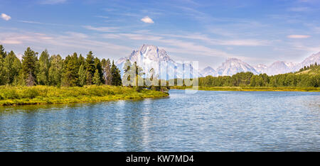 Panoramic view of Grand Teton National Park from Oxbow Bend over the Snake River in Wyoming - Stock Photo