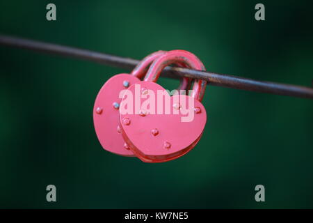 Two pink castle in the form of heart hanging on a wire on a green background - Stock Photo