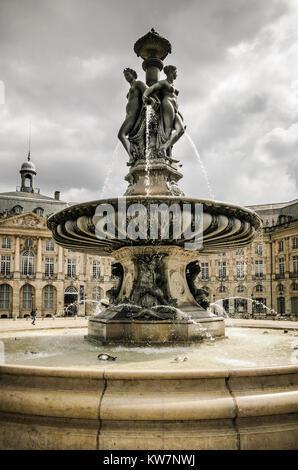 Fountain of the Three Graces, Place de la Bourse, Bordeaux, France - Stock Photo