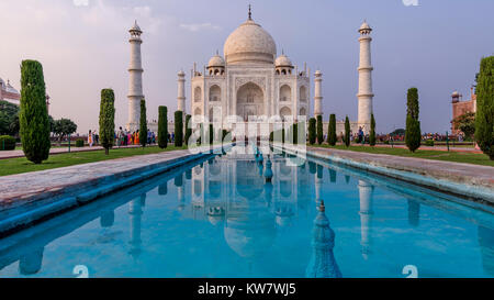 Late afternoon light on Taj Mahal, Agra, Uttar Pradesh, India - Stock Photo