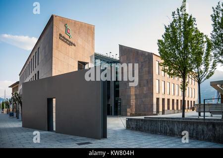 Vaduz, Liechtenstein - May 28, 2016: View of the Landesbank building (the National Bank of Liechtenstein) in Vaduz, - Stock Photo