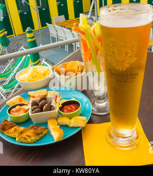 Italian style snacks served as appetizers with drinks. Camogli Italy - Stock Photo