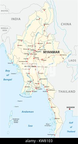 Myanmar vector road map with important cities - Stock Photo