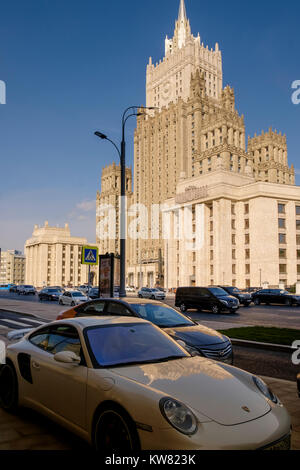 Porsche car parked near the Ministry of Foreign Affairs of Russia main building, Smolenskaya-Sennaya pl, showing - Stock Photo