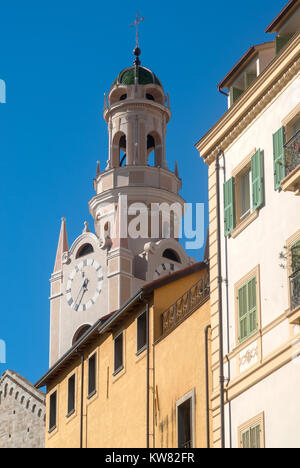 Bell tower of San Siro church. San Remo, Italy - Stock Photo
