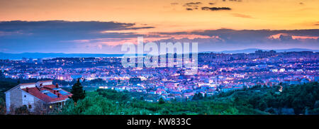 Sunset panorama of Split cityscape in Croatia, second largest town view. - Stock Photo