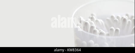 White cotton tipped swabs in box. Ear sticks close up. Soft focus image. Copy space. macro view - Stock Photo