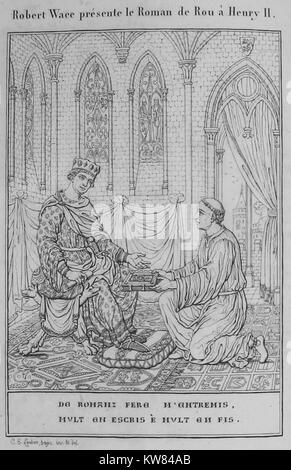 Wace presents his Roman de Rou to Henry II, Illustration 1824 - Stock Photo