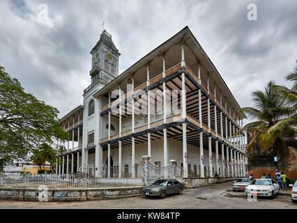 the historical House of Wonders (Baital Ajaib) in old town of Stone Town, UNESCO World Heritage Site, Zanzibar, - Stock Photo