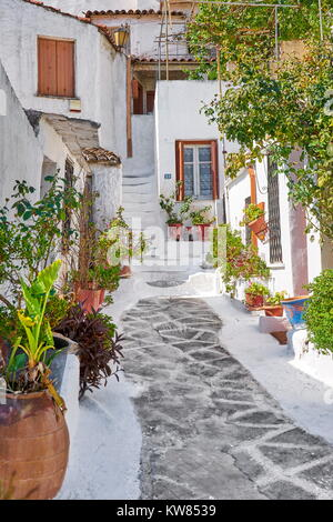 Traditional white houses in the Anafiotika quarter under the Acropolis, Athens, Greece - Stock Photo