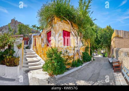 Anafiotika quarter under the Acropolis close to Plaka, Athens, Greece - Stock Photo