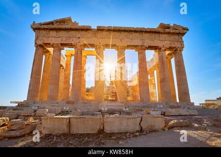 Parthenon at sunset time, Acropolis, Athens, Greece - Stock Photo