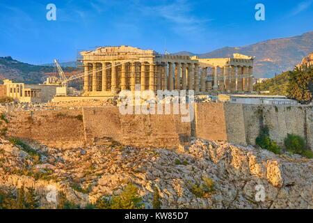 View at Parthenon at sunset time, Acropolis, Athens, Greece - Stock Photo
