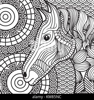 adult coloring monochrome horse drawing - Stock Photo