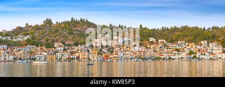Panoramic view of Poros Island, Argolida, Peloponnese, Greece - Stock Photo