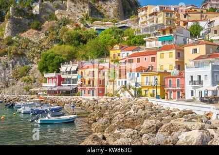 Colorful houses at Parga resort, Greece - Stock Photo