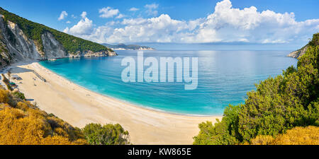 Panorama view of Myrtos Beach, Kefalonia (Cephalonia), Greek Ionian Islands, Greece - Stock Photo