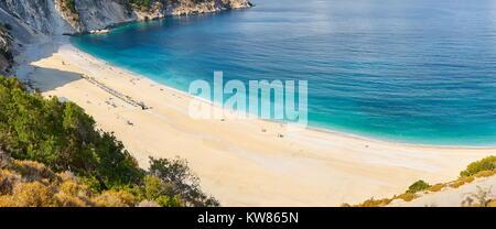 Myrtos Beach, Kefalonia (Cephalonia) Island, Greece - Stock Photo