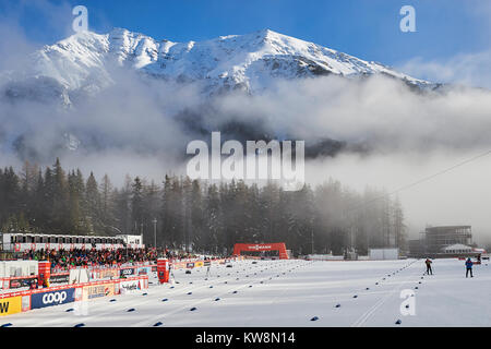 Lenzerheide, Switzerland, 31st December 2017. The Biathlon Arena is ready for the Mens 15 km Classic Competition - Stock Photo