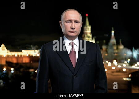 Moscow, Russia. 31st December. 2017. Russia's president Vladimir Putin during a traditional televised New Year address - Stock Photo