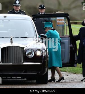 Sandringham, Norfolk, UK. 31st Dec, 2017. HM Queen Elizabeth II after attending the St. Mary Magdalene Church Sunday - Stock Photo