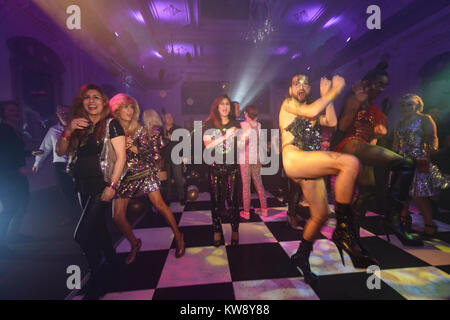 London, UK. 31st Dec, 2017. Drag queen artists performing at a new year's even party at a Lost in Disco club night - Stock Photo