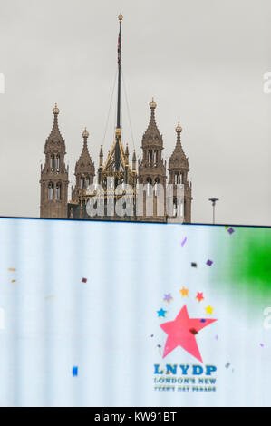 Central London, UK. 1st Jan, 2018. London's spectacular New Year's Day Parade starts at 12 noon in Piccadilly, making - Stock Photo