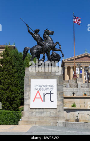 The Lion Fighter sculpture at the base of the Art Museum Steps (or 'Rocky' steps), Philadelphia Museum of Art, Philadelphia, - Stock Photo