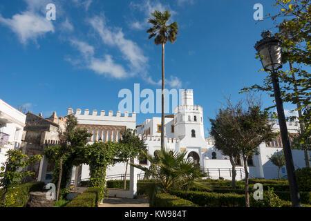 Public Library, Plaza de Santa Maria,  building in Tarifa Old Town, Cadiz, Andalusia, Spain, - Stock Photo