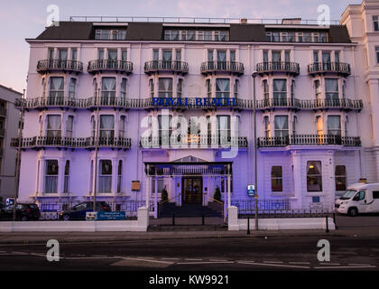 Royal Beach Hotel at dusk during the festive season on the Promenade at Southsea - Stock Photo