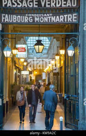 France, Paris (75), Passage Verdeau, shops and eateries - Stock Photo