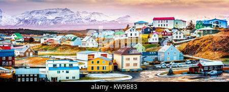 Stykkisholmur colorful icelandic houses. Stykkisholmur is a town situated in the western part of Iceland - Stock Photo