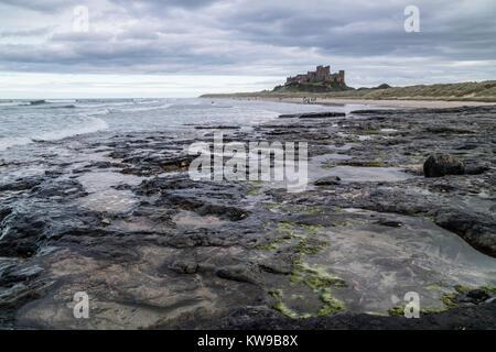 Bamburgh Castle on the Northumbrian coast, Northumberland, England, UK - Stock Photo