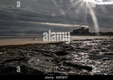 Bamburgh Castle on the Northumbrian coast, Northumberland, England, UK Stock Photo