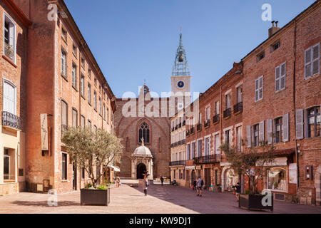 Place Leon Gambetta and the Cathedral Basilica of Saint John the Baptist, Perpignan, Languedoc-Roussillon, Pyrenees - Stock Photo