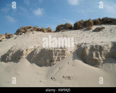 sand dunes and marram grass on the Opal Coast of northern France - Stock Photo