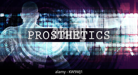 Prosthetics Industry with Futuristic Business Tech Background - Stock Photo